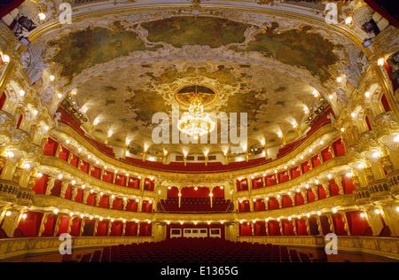 PRAGUE STATE OPERA HOUSE WIDE INTERIOR Prague State Opera House auditorium viewed from the stage Prague Czech Republic - Stock Photo
