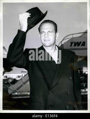 Feb. 28, 2012 - Idlewind Airport, N.Y., May 1. G. David Schine, hotel magnate, steps off a TWA ambassador flight - Stock Photo