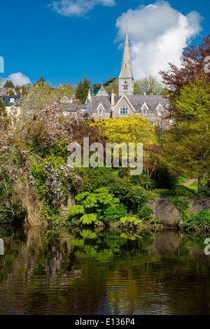 River Lee and Church of Our Lady of the Rosary, Cork Ireland - Stock Photo