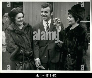 Mar. 02, 2012 - Tony Jacklin O.B.E.: Golfer Tony Jacklin, flanked by his mother, Mrs. Dorothy Jacklin, (left0 and - Stock Photo