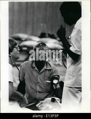Mar. 22, 2012 - A cuban refugee being checked out by a doctor at a clinic setup by the Air Force at the tent City - Stock Photo
