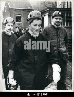 Mar. 22, 2012 - Princess Paola visits Coal Mine: Princess Paola, wife of Prince Albert of Liege, today went to Liege, - Stock Photo