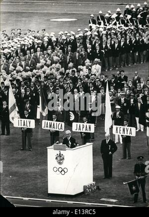 Mar. 27, 2012 - On Thursday 22, 11, 1958: the opening ceremonies of the XVI Olympic summer games begun in Melbourne, - Stock Photo
