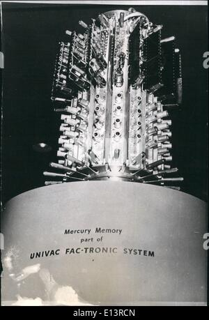 Mar. 27, 2012 - APPARATUS CAN STORE 10,000 CHARACTERS PER SECOND.. ''MERCURY MEMORY'' ON SHOW IN NEW YORK.. This - Stock Photo