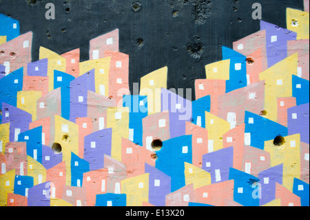 RIO DE JANEIRO, BRAZIL - FEBRUARY 14, 2014: Graphic graffiti rendering of colorful favela at the top of the Favela - Stock Photo