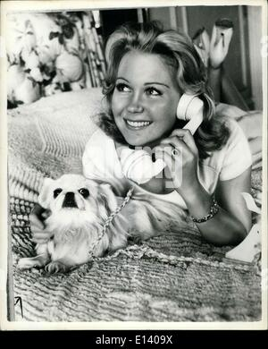 Mar. 31, 2012 - Juliet's Happy Day. It is long distance telephone call that 19 year old actress Juliet Mills is - Stock Photo