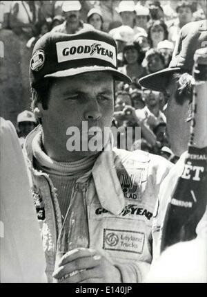 Mar. 31, 2012 - Alan Jones Driving a Saudia Williams wins the Argentine Grand Prix. Photo shows Alan Jones after - Stock Photo