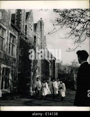 Mar. 31, 2012 - Britain's Oldest Public School, Scholars of the King's School, Canterbury, leave Meister ers (A - Stock Photo