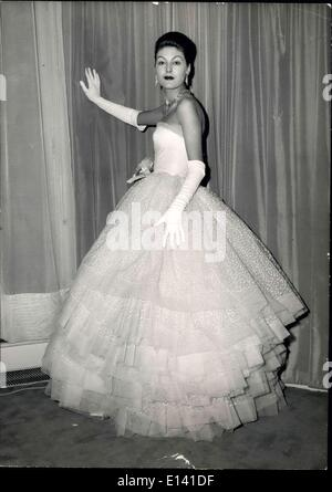 Mar. 31, 2012 - Spring Fashions: ''Alaska,'' white tulle evening dress trimmed with pink organdi flower at the waist. - Stock Photo