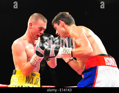 Leeds, UK. 21st May, 2014. Josh Wale (L) and Gavin McDonnell (R)face off during their fight at The First Direct - Stock Photo