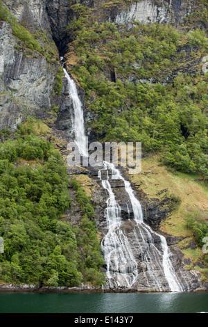 Norway, Geiranger, Geiranger fjord. Unesco World Heritage site. Waterfall - Stock Photo