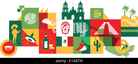 Illustrative collage of Mexico over white background - Stock Photo