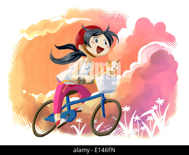 Illustration of girl with cat riding bicycle - Stock Photo