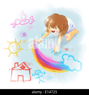 Illustration of girl drawing on floor - Stock Photo