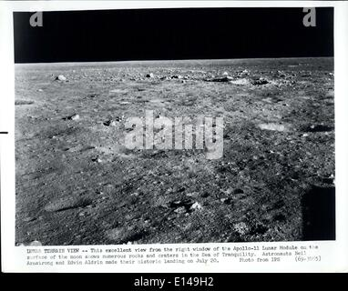 Apr. 17, 2012 - Lunar Terrain View: This excellent view from the right window of the Apollo-11 Lunar Module on the - Stock Photo
