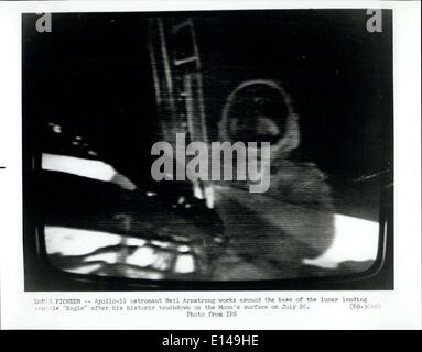 Apr. 17, 2012 - Lunar Pioneer -Apollo-11 Astronaut Neil Armstrong Works around the base of the Lunar landing Vehicle - Stock Photo
