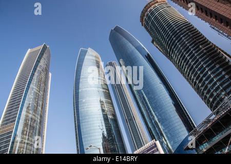 United Arab Emirates,  Abu Dhabi, Etihad Towers and Regent Emirates Pearl hotel - Stock Photo