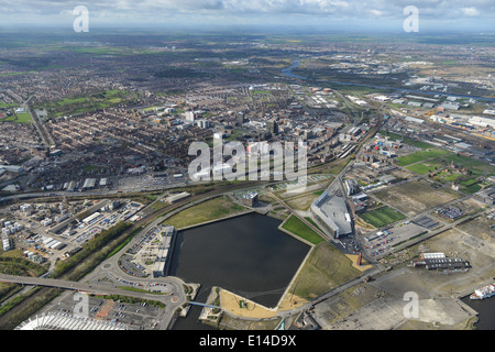 An aerial view of Middlesbrough looking from the west over the town - Stock Photo