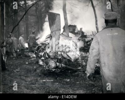 Apr. 18, 2012 - 44 kIlled in Frankfurt Brussels plane crash: A Belgin Sabena air liner while taking off from Frankfurt - Stock Photo