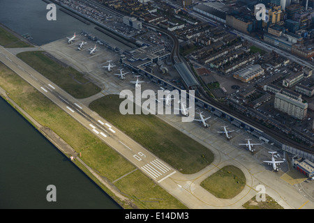 An aerial view of London City Airport in the East End of London UK - Stock Photo