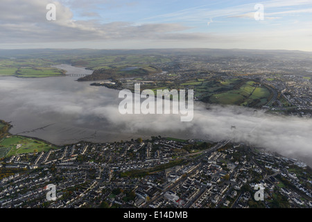 An aerial view over the River Tamar showing early morning mist - Stock Photo