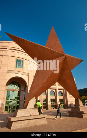 Huge Lone Star in front of Bob Bullock Texas State History Museum in Austin, Texas, USA - Stock Photo