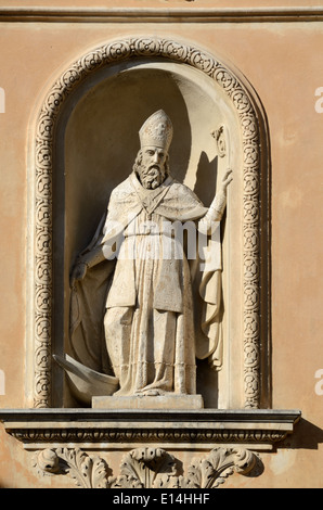 Baroque Sculpture in Niche of the Chapelle des Penitents Blancs (1680) or Chapel of the White Penitents Menton France - Stock Photo