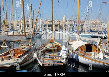 Wooden Yachts or Boats in the Vieux Port or Old Port Marseille Bouches-du-Rhône Provence France - Stock Photo