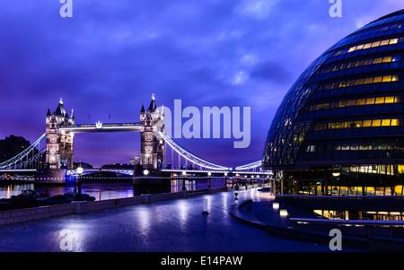 Tower Bridge lit up at night, London, United Kingdom - Stock Photo