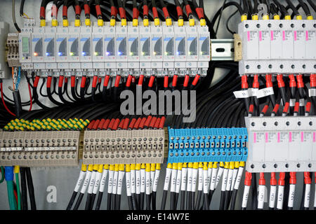 Fuse box with many cables - Stock Photo