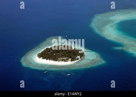 Aerial view, uninhabited island of Kuda Bandos, North Malé Atoll, Indian Ocean, Maldives - Stock Photo