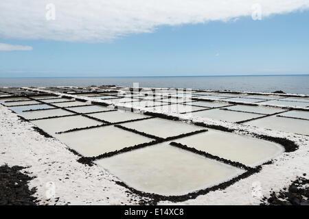 Salinas Teneguía salt evaporation ponds, on the southern cape of Punta de Fuencaliente, La Palma, Canary Islands, - Stock Photo