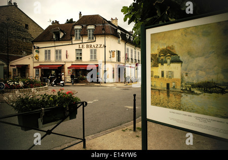 AJAXNETPHOTO. PORT MARLY, FRANCE. - CAFE FAMED BY ART - CAFE LE BRAZZA CLOSE TO THE RIVER SEINE, MADE FAMOUS BY - Stock Photo