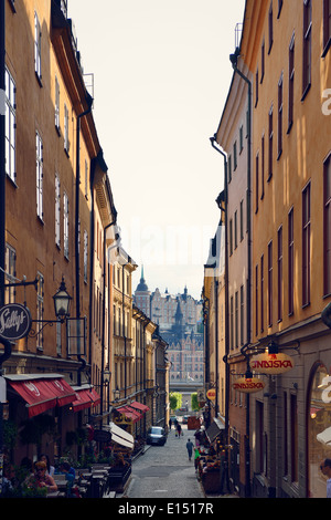 Sweden, Stockholm, Alley in the old town - Stock Photo