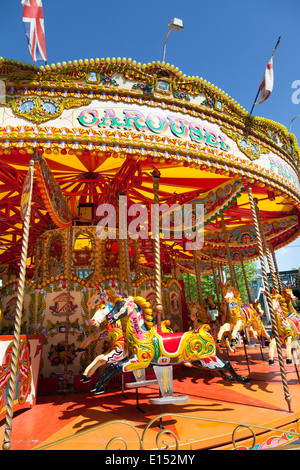 Traditional funfair carousel ride Great Yarmouth, Norfolk ...
