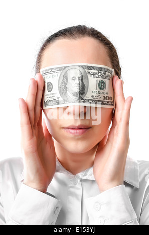 Woman with a hundred dollars in her eyes - Stock Photo