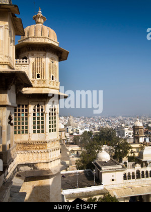 India, Rajasthan, Udaipur, elevated view of town from City Palace walls - Stock Photo