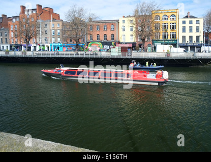 Spirit of Docklands Tour Boat on the River Liffey Dublin - Stock Photo