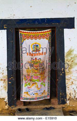 ... Traditional Tibetan Buddhist Door Covering Gangteng Monastery Phobjika Valley Wangdue Phodrang District & Traditional Tibetan Buddhist Door Covering Gangteng Monastery Stock ...