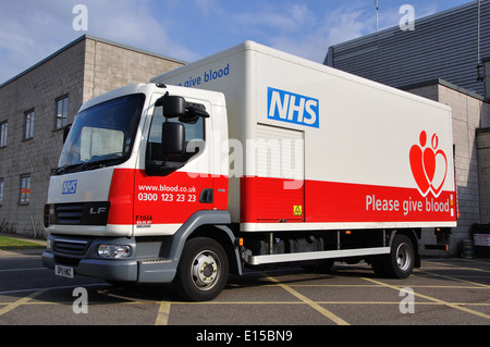 NHS blood donation lorry, Skegness, Lincolnshire, England, UK - Stock Photo