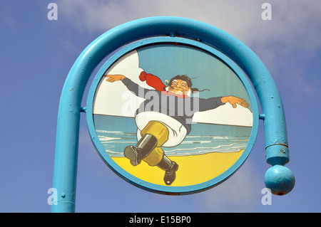 The Jolly Fisherman sign, Skegness, Lincolnshire, England, UK - Stock Photo