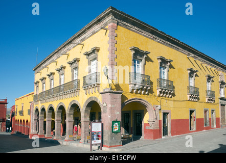 Old historic building Plaza Principal San Miguel de Allende Mexico - Stock Photo