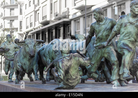 Bull running monument statue in the streets of Pamplona, Spain - Stock Photo