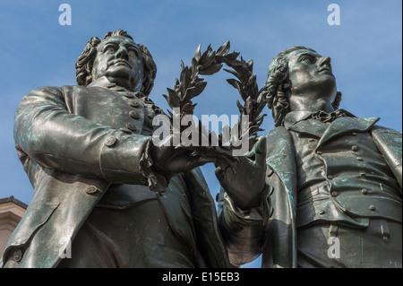 Germany, Thuringia, Weimar, Goethe-Schiller Monument - Stock Photo