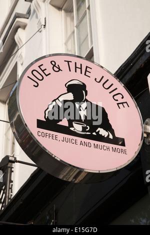 Joe and the Juice Cafe Sign; Kings Road; Chelsea; London; England; UK - Stock Photo
