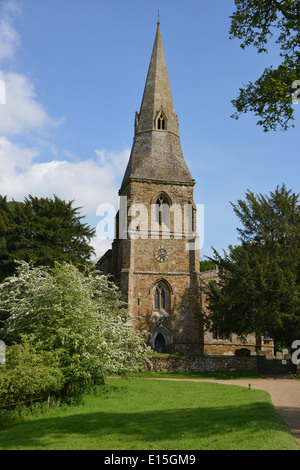 St Mary's Church in the grounds of Broughton Castle near Banbury, Oxfordshire - Stock Photo