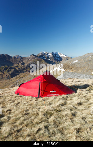Wild Camping on Glyder Fach with Mt Snowdon in the Distance. Snowdonia National Park, Wales, UK. - Stock Photo