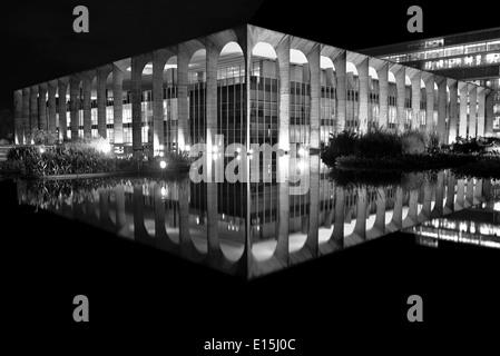 Brazil, Brasilia: Itamaraty Palace in black and white version - Stock Photo
