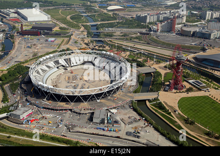 Aerial view of the Olympic Stadium & ArcelorMittal Orbit in Queen Elizabeth Olympic Park, London, UK, Designed by - Stock Photo