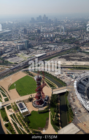 Aerial view of the ArcelorMittal Orbit in the Queen Elizabeth Olympic Park in Stratford, London, UK, Designed by - Stock Photo